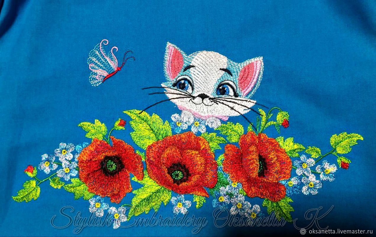 Clothes for Girls handmade. Livemaster - handmade. Buy Children's dress with embroidery 'Poppies and cat'.Cat, embroidery