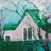 Картины и панно handmade. Livemaster - original item House with emerald green roof and flowering trees. Handmade.