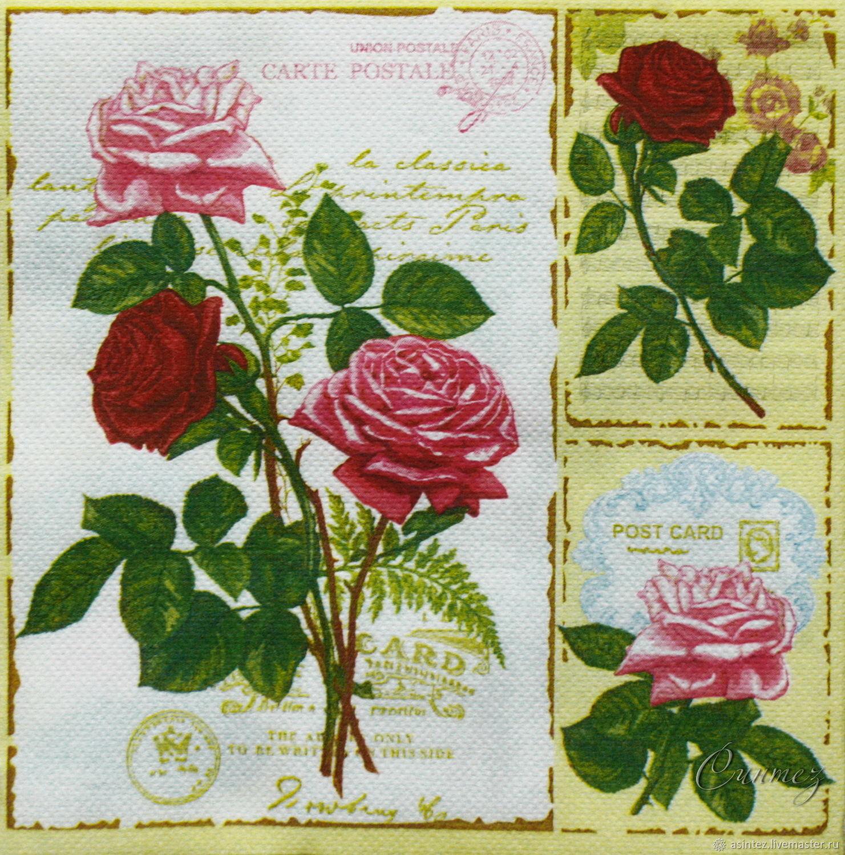 15pcs napkins for decoupage Postage rose decoupage print, Napkins for decoupage, Moscow,  Фото №1