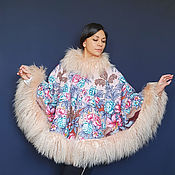 Одежда handmade. Livemaster - original item Poncho with llama fur. Handmade.