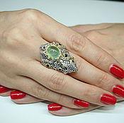 Кольца ручной работы. Ярмарка Мастеров - ручная работа Морские тайны, кольцо с натуральным пренитом, авторская работа. Handmade.
