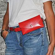 Поясная сумка ручной работы. Ярмарка Мастеров - ручная работа Красная поясная сумка из кожи на ремне.. Handmade.