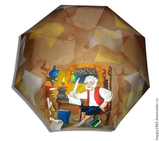 """Зонты ручной работы. Ярмарка Мастеров - ручная работа. Купить зонт ручной росписи """"Бильбо пишет мемуары"""". Handmade. Бежевый"""
