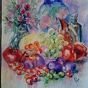 """Картины и панно ручной работы. Ярмарка Мастеров - ручная работа картина акварелью""""Фруктовый натюрморт"""". Handmade."""
