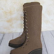 Обувь ручной работы. Ярмарка Мастеров - ручная работа Войлочные ботинки Модный коричневый. Handmade.