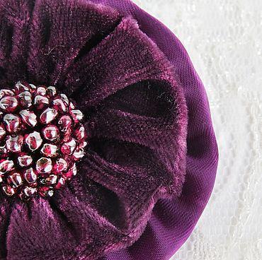 Украшения ручной работы. Ярмарка Мастеров - ручная работа Брошь фиолетовая, бордовая текстильная Ежевичное настроение. Handmade.