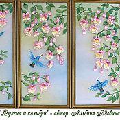 """Картины и панно ручной работы. Ярмарка Мастеров - ручная работа Триптих """"Фуксия и колибри"""" (вышивка лентами,роспись по ткани). Handmade."""
