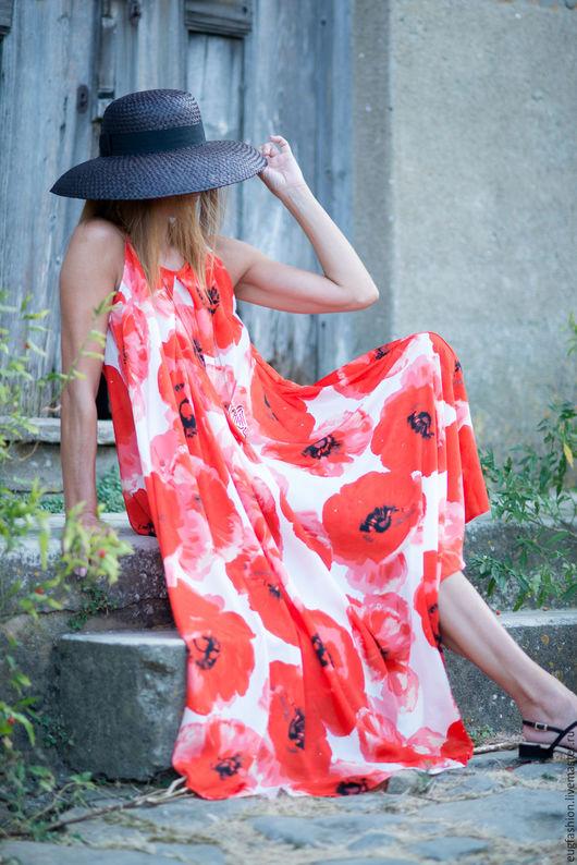 Платье из сатина. Купить платье маковое поле. Маки. Платье в цветочек. Купить платье. Ручная работа.
