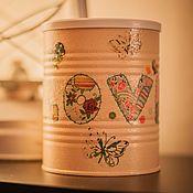 Для дома и интерьера handmade. Livemaster - original item Jar decoupage Love. Handmade.
