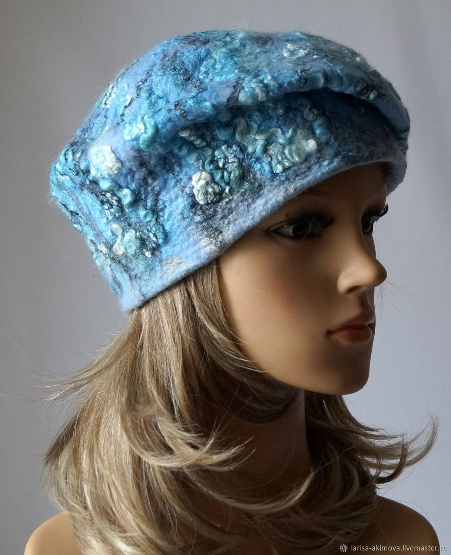 76b73e1d6837a Felted beret Blue