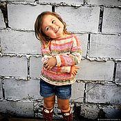 """Работы для детей, ручной работы. Ярмарка Мастеров - ручная работа Свитер, пуловер, кофта из хлопка - осенний """"Деним"""".. Handmade."""