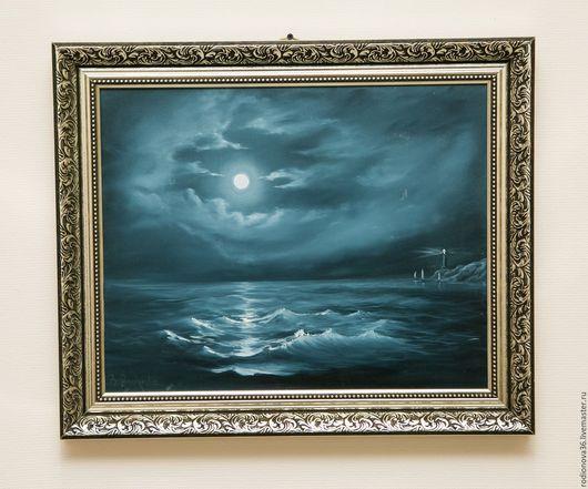 Пейзаж ручной работы. Ярмарка Мастеров - ручная работа. Купить Ночной маяк (по мотивам). Handmade. Море, морская волна