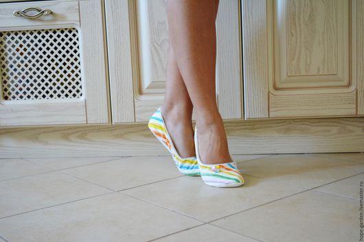 """Обувь ручной работы. Ярмарка Мастеров - ручная работа. Купить 36,37,40,41 Тапочки """"Радуга"""". Handmade. Комбинированный"""