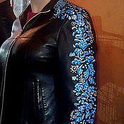 Одежда ручной работы. Ярмарка Мастеров - ручная работа Роспись кожаных курток Гжель. Handmade.