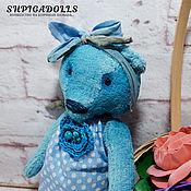 Куклы и игрушки ручной работы. Ярмарка Мастеров - ручная работа Голубой мишка тедди Варенька. Handmade.