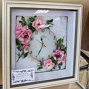 Для дома и интерьера ручной работы. Ярмарка Мастеров - ручная работа Часы с вышивкой. Handmade.