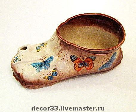 Кухня ручной работы. Ярмарка Мастеров - ручная работа. Купить Кашпо Ботинок с бабочками. Handmade. Кашпо, подарок девушке