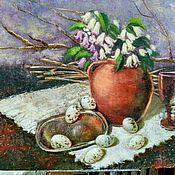 Картины и панно ручной работы. Ярмарка Мастеров - ручная работа Натюрморт Начало (с перепелиными яйцами и цветами). Handmade.