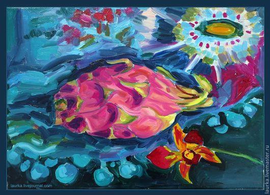 Натюрморт ручной работы. Ярмарка Мастеров - ручная работа. Купить Питахойя или Экзотический натюрморт. Handmade. Морская волна, экзотика