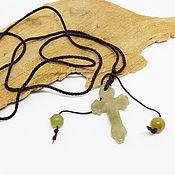 handmade. Livemaster - original item Cross pendant with jade beads (yellow-green jade). Handmade.