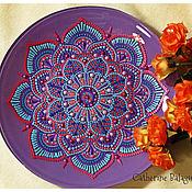 """Посуда ручной работы. Ярмарка Мастеров - ручная работа Тарелка стеклянная """"Северный цветок"""". Handmade."""
