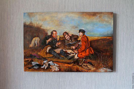 Люди, ручной работы. Ярмарка Мастеров - ручная работа. Купить Охотники на привале. Handmade. Комбинированный, охотники на привале, копия картины