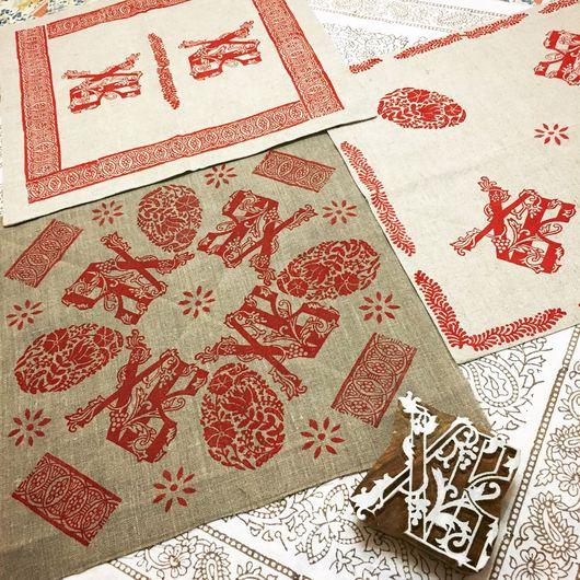 """Текстиль, ковры ручной работы. Ярмарка Мастеров - ручная работа. Купить Салфетка """"Пасха"""", ручная набойка.. Handmade. пасхальный стол"""