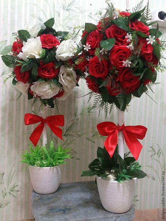 Свадебные аксессуары ручной работы. Ярмарка Мастеров - ручная работа. Купить Цветочный Топиарий!!!. Handmade. Ярко-красный, розы искусственные