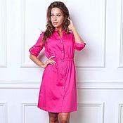 Одежда handmade. Livemaster - original item Dress shirt satin raspberry color. Handmade.