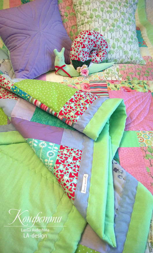 Лоскутные комплект `Конфетти`для девочки и мальчика в детскую. Лариса Авдошина. LA-Design