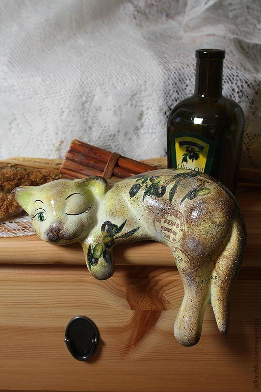 cat 'olivia' (ceramics), Figurines, Sergiev Posad,  Фото №1
