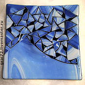 """Посуда ручной работы. Ярмарка Мастеров - ручная работа Тарелка """" Мозаичность в синих тонах """". Handmade."""