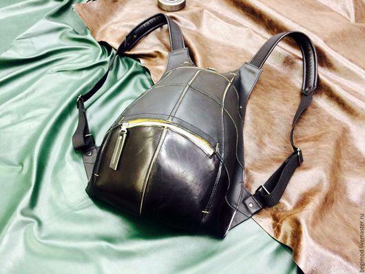 Рюкзаки ручной работы. Ярмарка Мастеров - ручная работа. Купить Рюкзак кожаный, унисекс, черный TurtleBack. Handmade. Однотонный