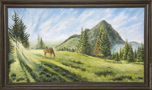 Пейзаж ручной работы. Ярмарка Мастеров - ручная работа. Купить Солнечный день. Handmade. Зеленый, трава, тепло, горы