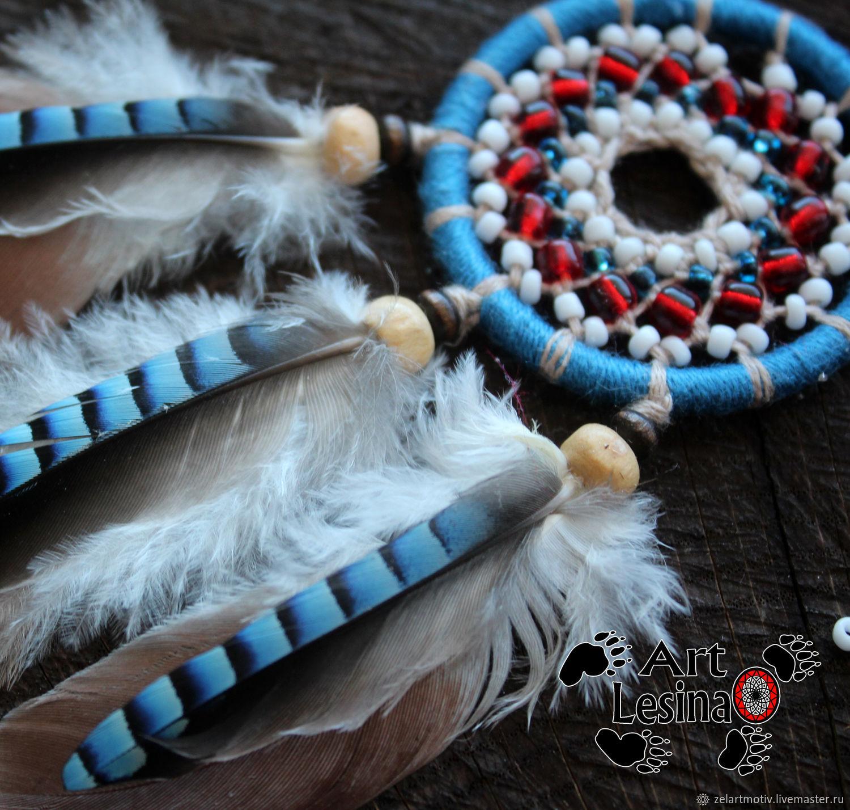 Брелок ловец снов с перьями сойки и голубя, 11 см+подвесная веревочка