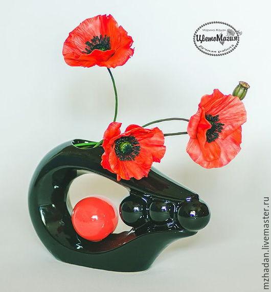 Маки, букет маков, цветы в вазе,фото маков,маки из полимерной глины.