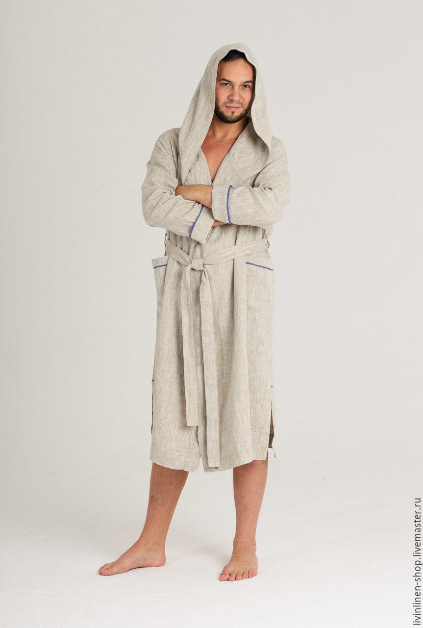 Льняной банный халат с капюшоном, Халаты, Москва,  Фото №1