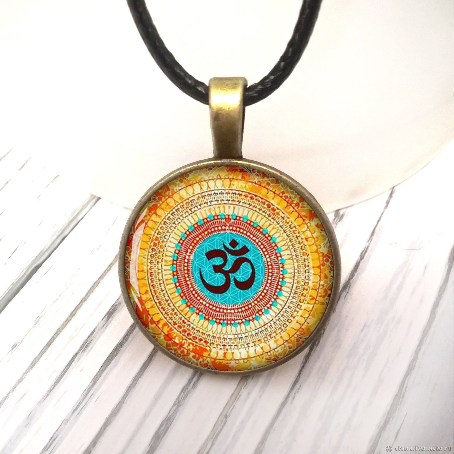 Mandala pendant 4 types, 25 mm with glass cabochon, art. One thousand twelve, Pendants, Ulyanovsk,  Фото №1