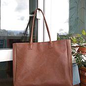 Классическая сумка ручной работы. Ярмарка Мастеров - ручная работа Сумка-шоппер из натуральной кожи с подкладкой. Handmade.