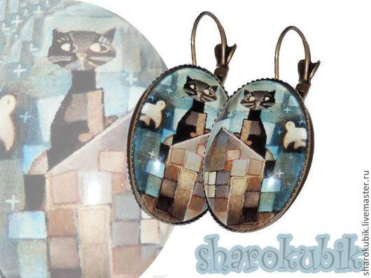 """Серьги ручной работы. Ярмарка Мастеров - ручная работа. Купить Серьги """"Кубический Котизм"""". Handmade. Голубой, кошка, черный кот"""
