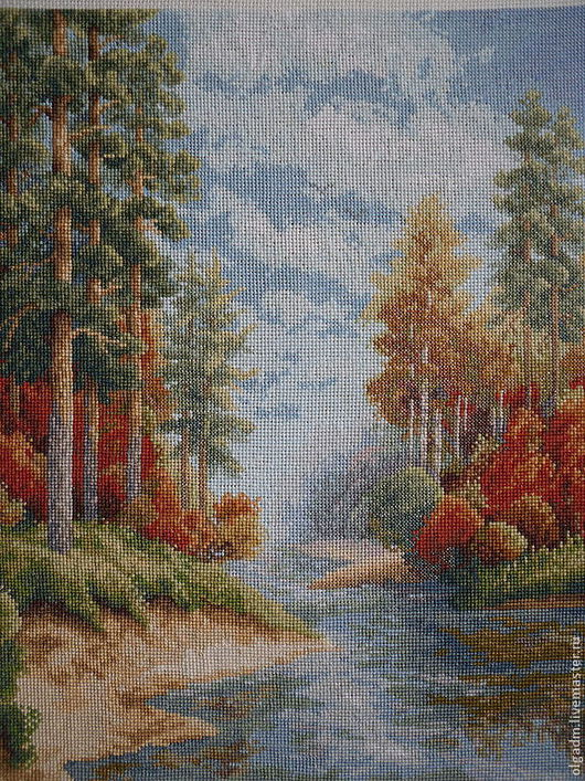 """Пейзаж ручной работы. Ярмарка Мастеров - ручная работа. Купить Картина вышитая """"Осень"""". Handmade. Картина для интерьера, нитки мулине"""