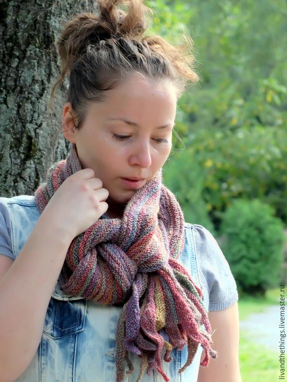 Шарф вязаный Цветущий сад. (длинный шарф из 100% шерсти), Шарфы, Москва,  Фото №1