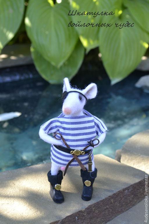 """Игрушки животные, ручной работы. Ярмарка Мастеров - ручная работа. Купить Мышонок """"Пират"""". Handmade. Белый, игрушка из шерсти"""