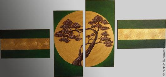 """Символизм ручной работы. Ярмарка Мастеров - ручная работа. Купить Модульная картина """"Китайское дерево"""". Handmade. Зеленый цвет"""