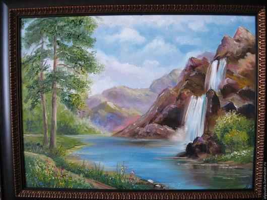 Пейзаж ручной работы. Ярмарка Мастеров - ручная работа. Купить Водопад.  Картина  маслом,  на холсте. Handmade. Водопад, пейзаж