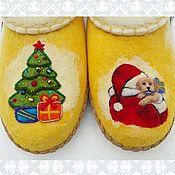 Обувь ручной работы. Ярмарка Мастеров - ручная работа Тапочки Новогодние. Handmade.
