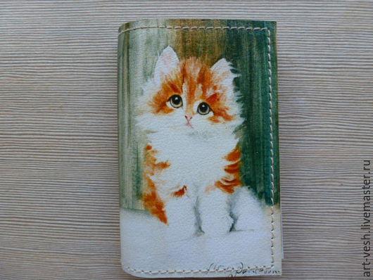 1  Визитница кожаная на 18 карт Котик. Подарок на 8 марта.
