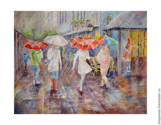 Город ручной работы. Ярмарка Мастеров - ручная работа. Купить Дождь. Handmade. Город, дождь, улицы, зонты, васильковый