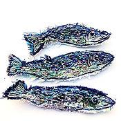 Материалы для творчества handmade. Livemaster - original item Stripe: Sardines-a set of 3 applications with hand embroidery. Handmade.
