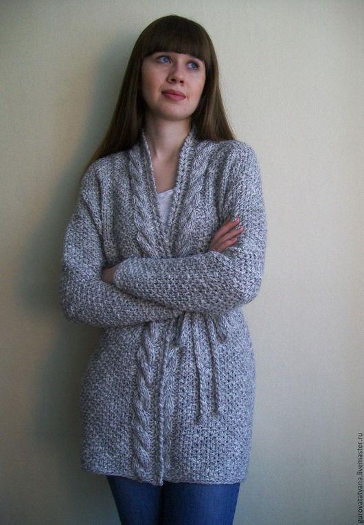 Кофты и свитера ручной работы. Ярмарка Мастеров - ручная работа. Купить Кардиган вязаный меланжевый в серых тонах без застежки из пряжи Италии. Handmade.